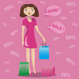 Surprised the girl drops the bags from his hands. Discounts Vector Illustration