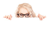 Surprised girl with empty board Stock Photography