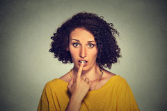 Surprised girl funny looking woman with disbelief speechless face expression Royalty Free Stock Images