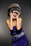Surprised girl in fur hat Royalty Free Stock Photo