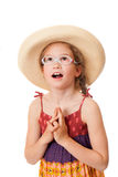 Surprised girl with glasses in a sundress Stock Images
