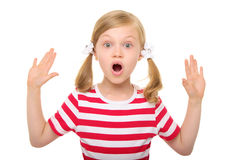 Surprised girl with hands up. Isolated on white Royalty Free Stock Photos