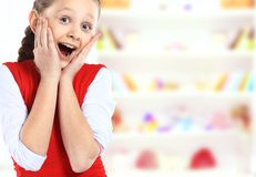 Surprised girl with hands Royalty Free Stock Photo