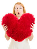 Surprised girl with a heart Royalty Free Stock Images