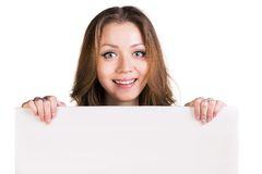 Surprised girl hold white blank card Stock Photography