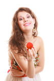 Surprised girl holding red heart shaped box with engagement ring Stock Photos