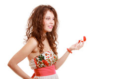 Surprised girl holding red heart shaped box with engagement ring Stock Photography