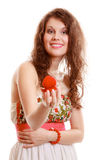 Surprised girl holding red heart shaped box with engagement ring Royalty Free Stock Image