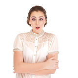 Surprised girl isolated on white background Royalty Free Stock Photo