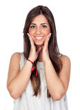 Surprised girl with long hair Royalty Free Stock Photography