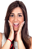 Surprised girl with long hair Stock Images