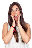 Surprised girl with long hair Royalty Free Stock Photo
