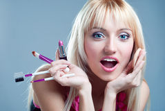Surprised girl with makeup Royalty Free Stock Image