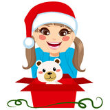Surprised Girl Opening Present Royalty Free Stock Images