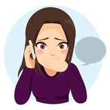 Surprised Girl Phone. Young teenager girl talking sad and surprised with her phone Stock Image