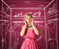 Surprised girl in pink Royalty Free Stock Photography