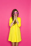 Surprised Girl In Pink Sunglasses Stock Photos
