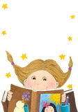 Surprised girl reading book Royalty Free Stock Photography
