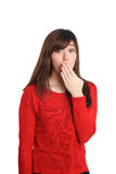 Surprised girl in red Stock Images