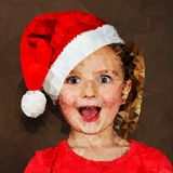 Surprised girl in santa cap illustration Royalty Free Stock Images