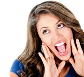 Surprised girl shouting Royalty Free Stock Images