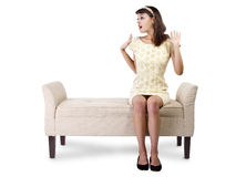 Surprised Girl Sitting and Waiting Royalty Free Stock Photo