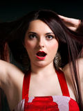 Surprised girl straight long hair Stock Photo
