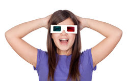Surprised girl with three-dimensional glasses. Isolated on white background Royalty Free Stock Photography