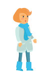 Surprised Girl in Warm Winter Clothes Isolated Royalty Free Stock Photography