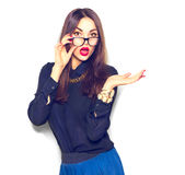 Surprised girl wearing glasses Royalty Free Stock Photos