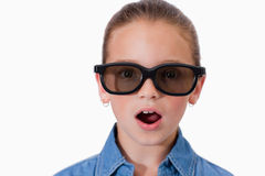 Surprised girl wearing sunglasses Stock Image