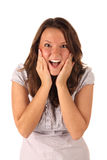 Surprised girl on white background Royalty Free Stock Images