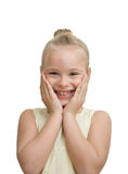 Surprised girl on a white Royalty Free Stock Photo
