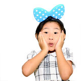 Surprised girl on a white background Stock Images