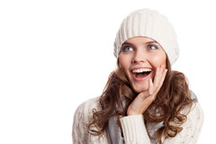 Surprised Girl.Winter woman isolated Stock Image