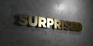 Surprised - Gold text on black background - 3D rendered royalty free stock picture Stock Image