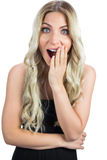 Surprised gorgeous blonde in black dress posing Royalty Free Stock Images