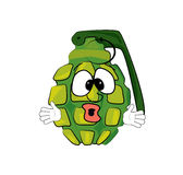Surprised grenade cartoon Royalty Free Stock Images