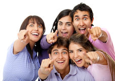 Surprised group of friends Stock Images