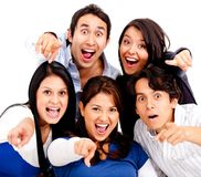 Surprised group pointing Royalty Free Stock Images
