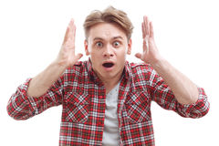 Surprised guy showing wonder Royalty Free Stock Images