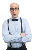 Surprised guy with suspenders and bow-tie Royalty Free Stock Photos