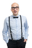 Surprised guy with suspenders and bow-tie Royalty Free Stock Photography