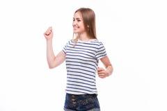 Surprised ha eccitato la donna di grido felice isolata Immagini Stock Libere da Diritti