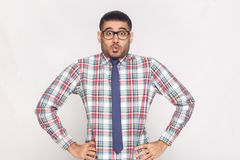 Surprised handsome bearded businessman in checkered shirt, blue. Tie and black eyeglasses standing with hands on waist and looking at camera with excited face royalty free stock photography