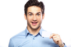 Surprised handsome guy wearing nice shirt Stock Photography