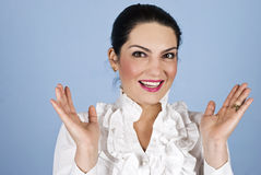 Surprised happy business woman stock images