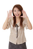 Surprised and happy business woman Stock Images
