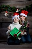 Surprised Happy Children With Christmas Gift And New Year Tree. Making Presents. Stock Photography