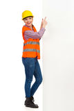 Surprised And Happy Construction Worker Woman Pointing Royalty Free Stock Images